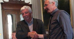 Il sindaco di Schio, Valter Orsi (a destra) e il presidente di Banca Alto Vicentino, Domenico Drago