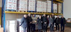 Scatoloni di cibi raccolti a Montecchio maggiore nella colletta alimentare del dicembre 2013