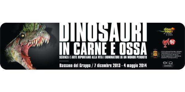 Locandina mostra Dinosauri in carne ed ossa, a Bassano del Grappa