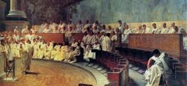 Cicerone denuncia Catilina - Roma, affresco di Cesare Maccari a Palazzo Madama