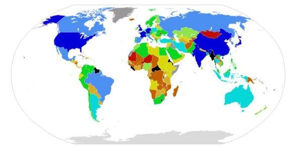 Paesi del mondo in base al Pil pro-capite corretto per parità di potere d'acquisto(IMF 2007) - Fonte Wikipedia