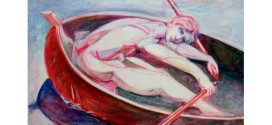 """Giampaolo Giordano, """"Rematore"""" - 1992 - Olio, acrilico su tela, (141x110,5) - Fonte foto: www.giampaolo.org"""