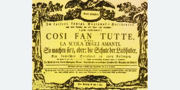 """La locandina della prima rappresentazione di """"Così fan tutte"""""""