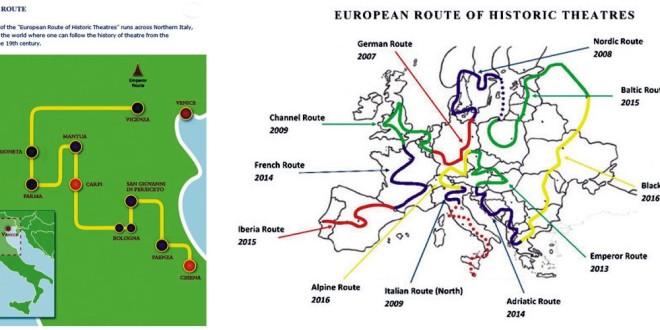 La mappa della rete dei teatri storici italiani e, a destra, quella della rete europea