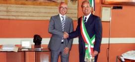 Enrico Porrovecchio, che dal 15 settembre sarà il comandante dei Vigili del Fuoco di Vicenza, e Achille Variati