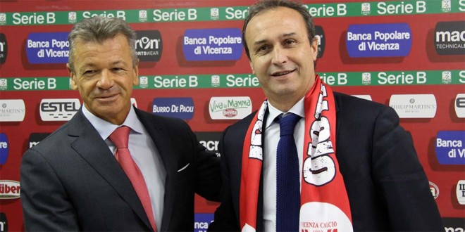 Il presidente del Vicenza Calcio, Tiziano Cunico, e il nuovo allenatore biancorosso Pasquale Marino