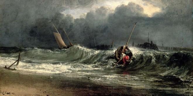 """Joseph Mallord William Turner, """"Pescatori a costa di sottovento con tempo burrascoso"""", olio su tela, cm 91,5 x 122 - Southampton City Art Gallery"""