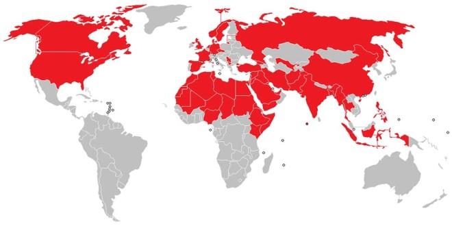 Nazioni nelle quali sono avvenuti attacchi terroristici di matrice islamica dopo l'11 settembre 2001 - Immagine: Angelo De La Paz