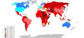 """Planisfero illustrante la percezione di corruzione nel 2010, a cura di Transparency International, che rileva il """"grado a cui è percepita la corruzione esistente tra pubblici ufficiali e politici"""". Un indice più elevato (in blu) indica una percezione minore della corruzione, mentre valori minori (in rosso) indicano un alto grado di percezione."""