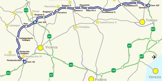 Il Tracciato della Superstrada Pedemontana Veneta - Immagine tratta da Wikipedia.org (CC)