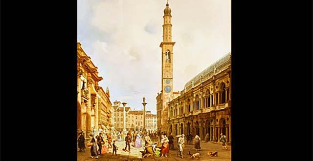 Veduta di Piazza dei Signori di Vicenza - dipinto di Carlo Ferrari (1813-1871)