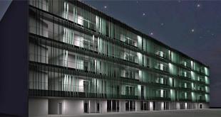 Un rendering notturno dell'edificio del Centro servizi del Campus Schio - (Foto: www.comune.schio.vi.it)