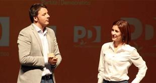 Alessandra Moretti con Matteo Renzi durante l'ultima campagna elettorale per le regionali