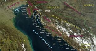 La Dalmazia vista dal satellite, con i suoi confini storici e geografici