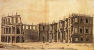 """la stampa che riproduce il disegno di Giovanni Miglioranza """"Veduta del Teatro Berga attraverso lo spaccato delle gradinate""""."""