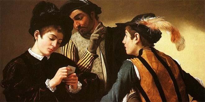 """Il celebre dipinto del Caravaggio dal titolo emblematico: """"I bari"""""""