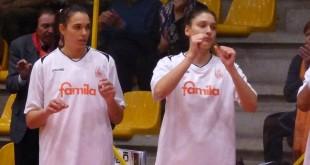 Bestagno, a sinistra, e Zandalasini, a destra, protagoniste del vittorioso match con San Martino di Lupari