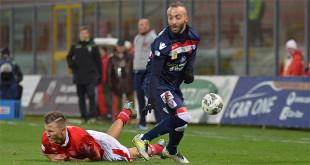 Stefano Giacomelli, con la maglia da trasferta del Vicenza. Ha segnato il gol della vittoria sul Perugia