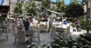 Ricostruzione di come si presenterà l'area esterna al nuovo centro anziani di Arzignano