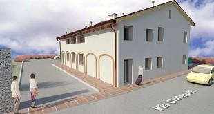 Rendering che mostra come si presenterà l'edificio di via Chilesotti una volta conclusi i lavori