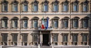 La facciata di Palazzo Madama, a Roma, sede del Senato