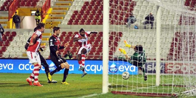 Il gol di Ebagua, quello del momentaneo vantaggio del Vicenza...