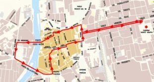 Il percorso del Tricolore a Bassano del Grappa