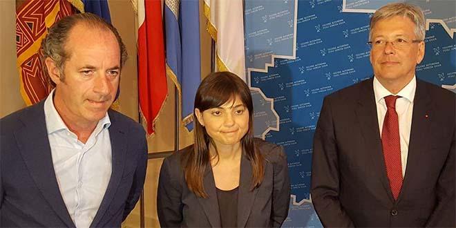 I presidente di Veneto e Friuli Venezia Giulia, Zaia e Serracchaini, e il governatore della Carinzia Peter Keiser