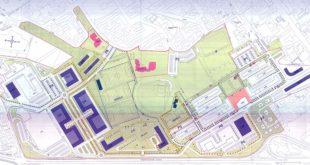 Il progetto del Piruea Pomari, con le alberature mancanti messe in evidenzia (circolate in giallo)