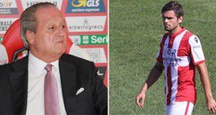 Il presidente del Vicenza Calcio, Alfredo Pastorelli, e Nicolò Brighenti