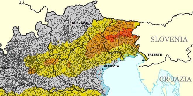 La mappa del rischio sismico nel Triveneto (Fonte: Dipartimento della Protezione Civile)