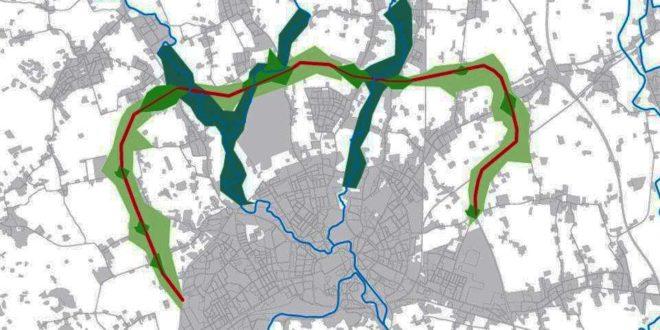 Il tracciato previsto per la tangenziale nord di Vicenza