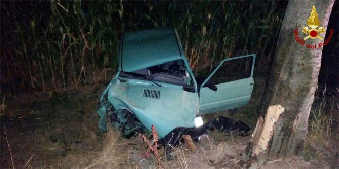 La Panda finita fuori strada nell'incidente di Bolzano Vicentino