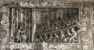 La visita a Vicenza dei delegati giapponesi raffigurata in un fregio posto nella sala dell'antiodeo del Teatro Olimpico