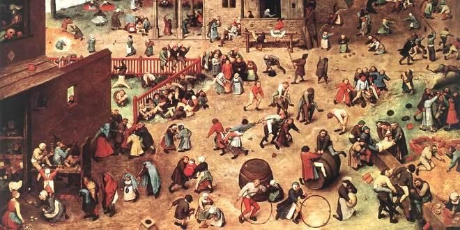 """Frammento di """"Giochi di bambini"""", dipinto di Pieter Bruegel il Vecchio"""