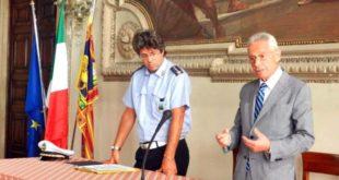L'assessore alla sicurezza urbana, Dario Rotondi, e il comandante della polizia locale, Cristiano Rosini