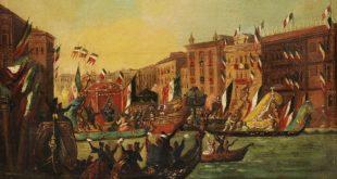 L'entrata di Vittorio Emanuele II a Venezia, il 7 novembre 1866, in un quadro dell'epoca di autore anonimo