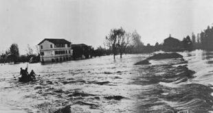 Alluvione 1966 nella zona di Ponte di Piave (Foto di Romano Mazzariol)