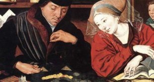 Marinus Van Reymerswaele - Il banchiere con sua moglie (1539. Olio su tavola. Museo del Prado, Madrid)