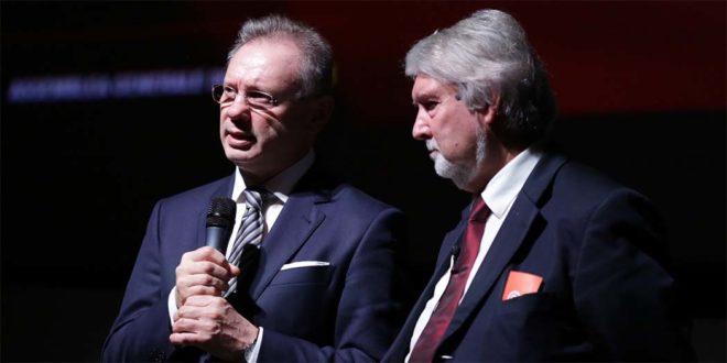 Il presidente di Confartigianato Vicenza, Agostino Bonomo (a sinistra), ed il Ministro del Lavoro Giuliano Poletti