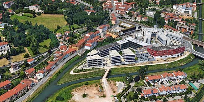 Il complesso edilizio di Borgo Berga, a Vicenza, visto dall'alto