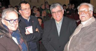 Oleg Mandic, a destra. Con lui, da destra, Federico Formisano, Igino Canale (Spi Cgil) e Roberto Merlo (Uilp)