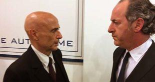 Il ministro dell'Interno Minniti e, a destra, Il presidente della Regione Luca Zaia