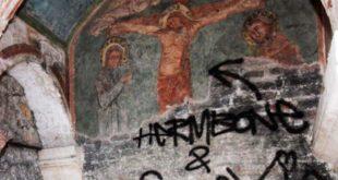 Un particolare dell'affresco del 300 della chiesa di San Lorenzo danneggiato in agosto