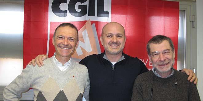 Da sinistra il segretario provinciale Cgil, Giampaolo Zanni, Riccardo Martin e Claudio Treves