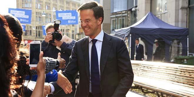 Mark Rutte, premier olandese e leader del partito di centrodestra che ha vinto le elezioni