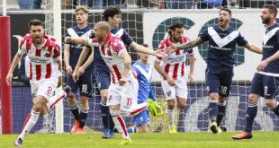L'esultanza dei giocatori del Vicenza dopo il gol