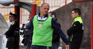 Pierpaolo Bisoli ieri, durante la partita Vicenza-Pro Vercelli