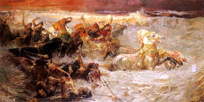 Frederick Arthur Bridgman - L'armata del faraone inghiottita dal Mar Rosso (1900)