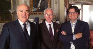 Da sinistra: Fulvio Zugno, presidente di Ascopiave, Valter Orsi, sindaco di Schio, e Roberto Gumirato, direttore generale di Ascopiave